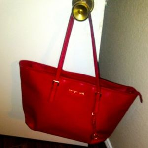 Authentic large red Michael Kors tote